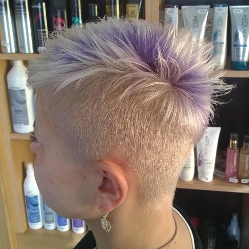 women's platinum blonde undercut hairstyle