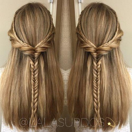 Half up half down hairstyles medium length hair straight