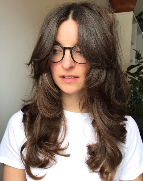 Long Layered Hair With Parted Bangs