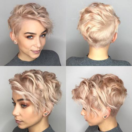 Short Wavy Half-Shaved Cut
