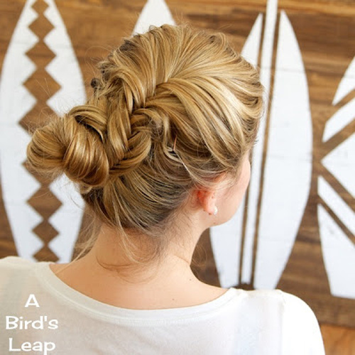 fishtail and bun casual updo