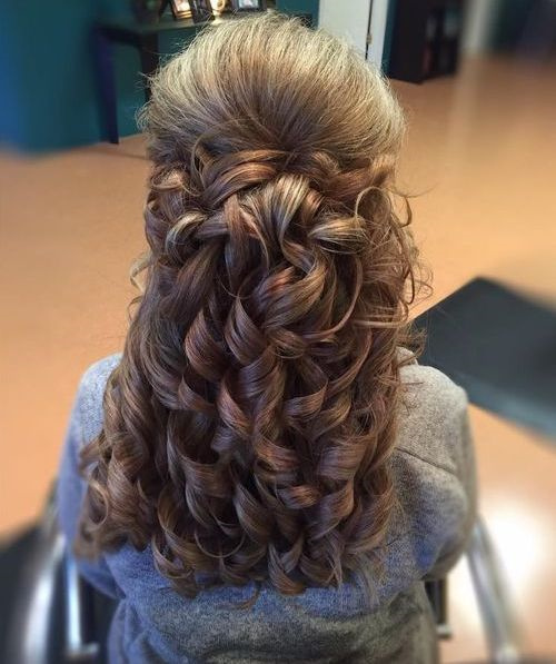 Half Up Half Down Curly Hairstyle With Bouffant