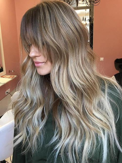Long Balayage Ombre Hair With Bangs