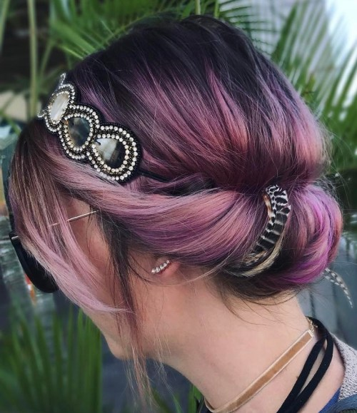 Simple Twisted Updo With A Headband