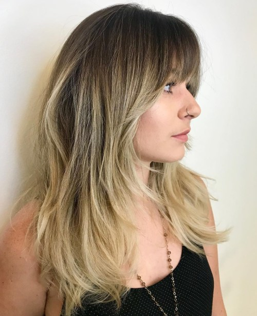 Layered Hair With Face Framing Bangs