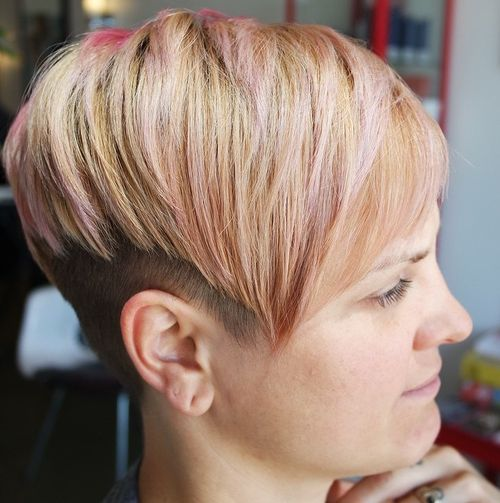 blonde undercut with pastel pink highlights