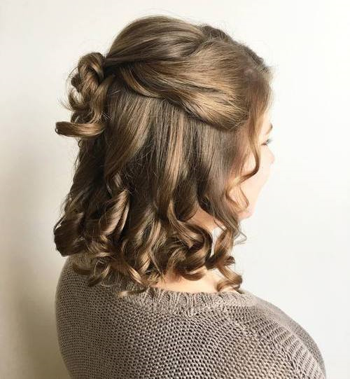 Curly Half Updo For Medium Length Hair