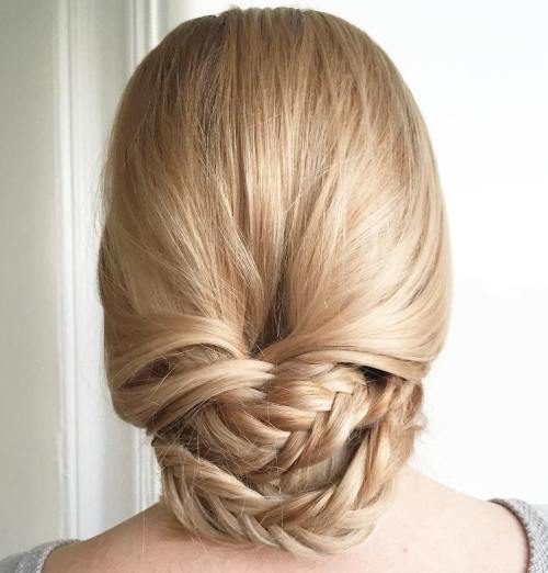 Loose Braided Chignon Updo