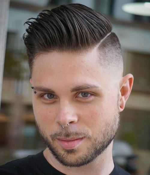 Side Part Fade With Pompadour