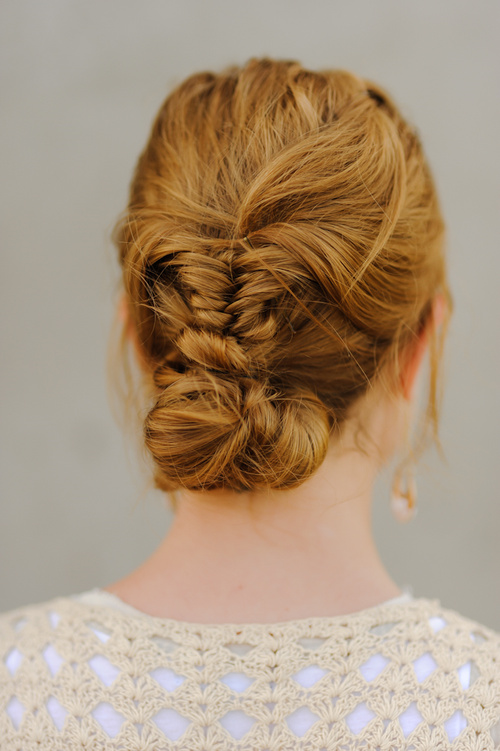 casual fishtail and low bun updo