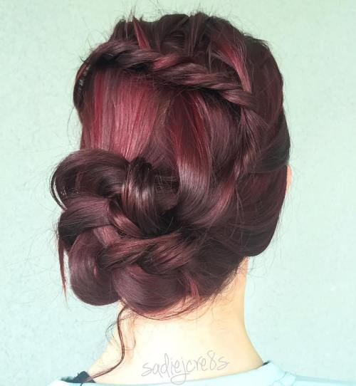 Asymmetrical Braided Bun Updo