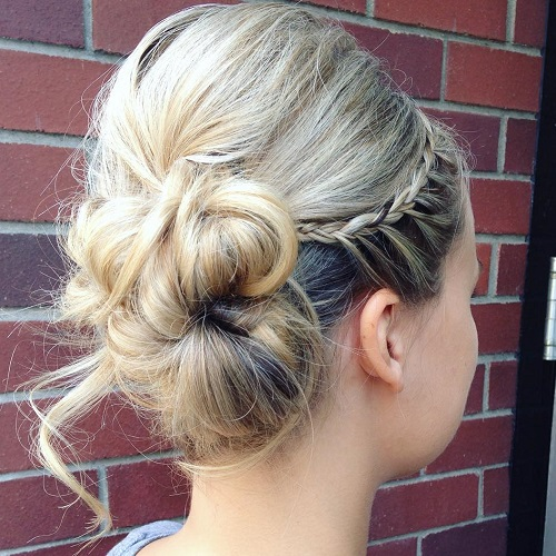 Side Bun With A Bouffant