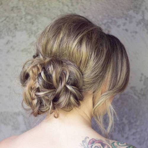 Big Low Messy Braided Bun