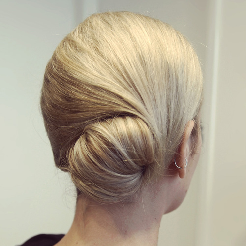 easy sleek bun updo for medium hair