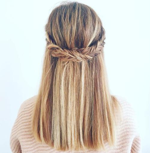 Fishtail Crown Braid Half Updo