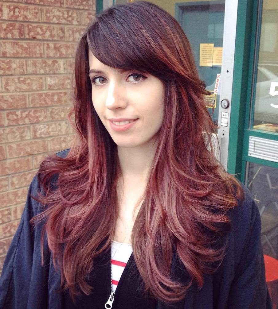 Long hairstyles with side bangs red hair