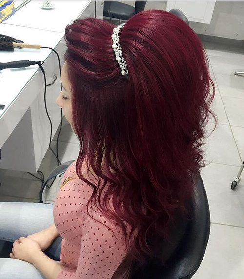 Teased Formal Half Up Hairstyle With Tiara
