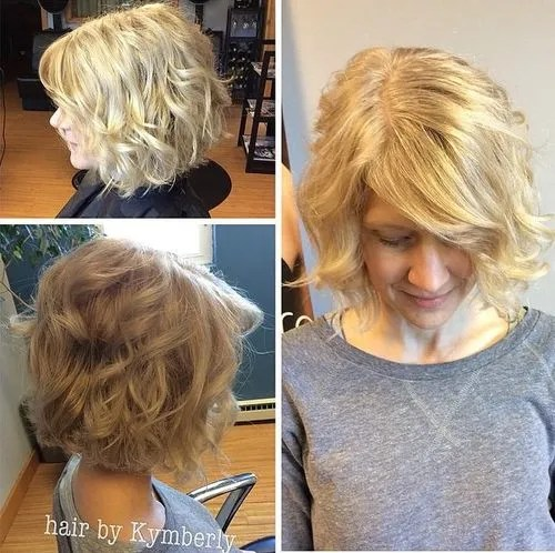Blonde wavy bob with side bangs