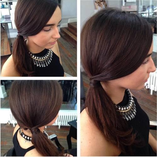 simple side ponytail for medium hair
