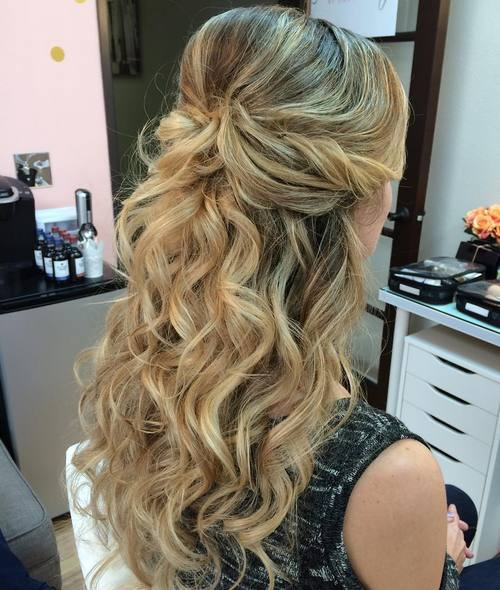 Formal Wavy Bouffant Half Updo