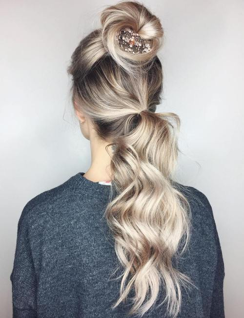 Half Up Bun And Ponytail Updo