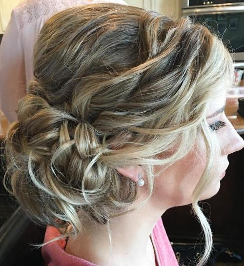 Curly Messy Side Bun