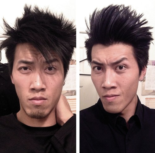 edgy Asian hairstyle for men