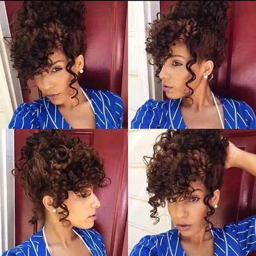 40 cute styles featuring curly hair with bangs