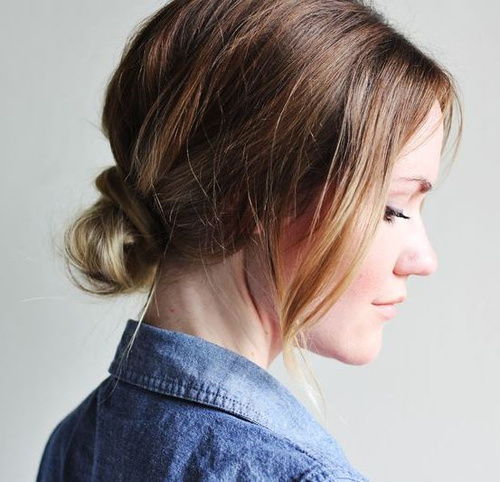 knot updo for medium hair