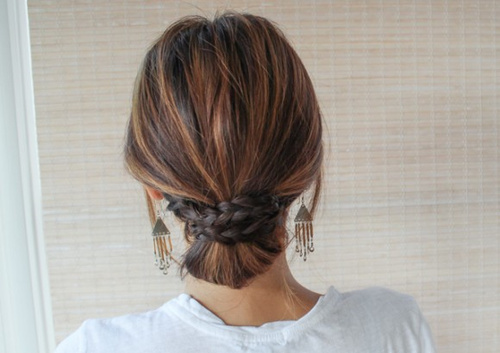 casual bun updo with braids