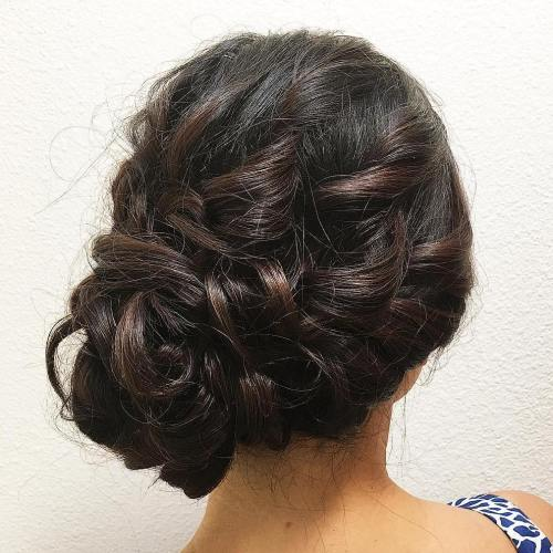 Messy Curly Side Bun