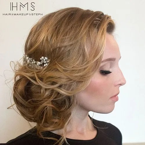 Curly Blonde Side Bun For Fine Hair