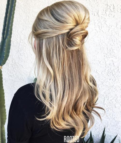 Half Up Knot With A Bouffant