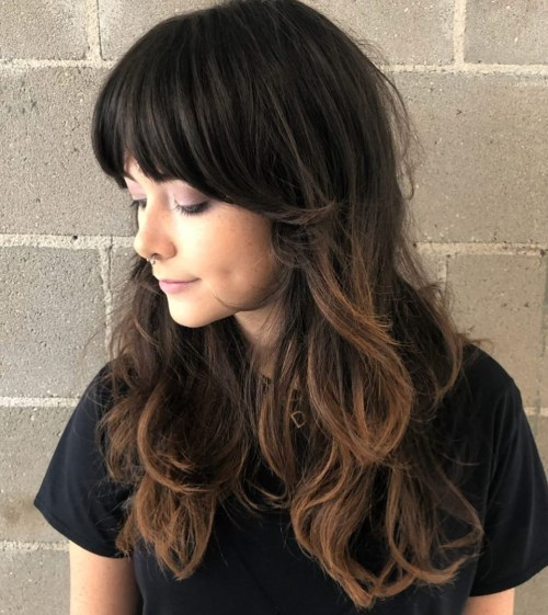 Long Brunette Hair With Bangs