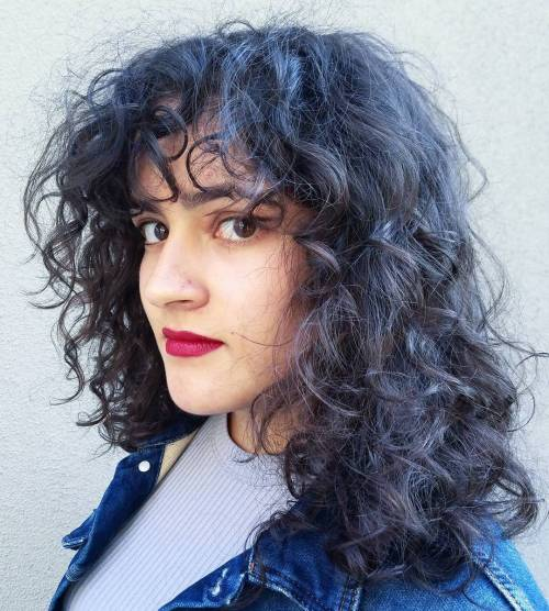 Hairstyles For Black Permed Hair Medium Length : 40 cute styles featuring curly hair with bangs