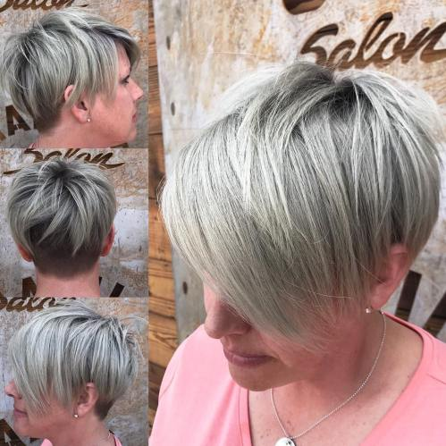 Ash Blonde Undercut Pixie With Long Bangs