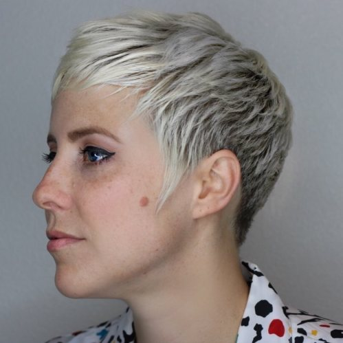 Extra Short Blonde Cut For Women