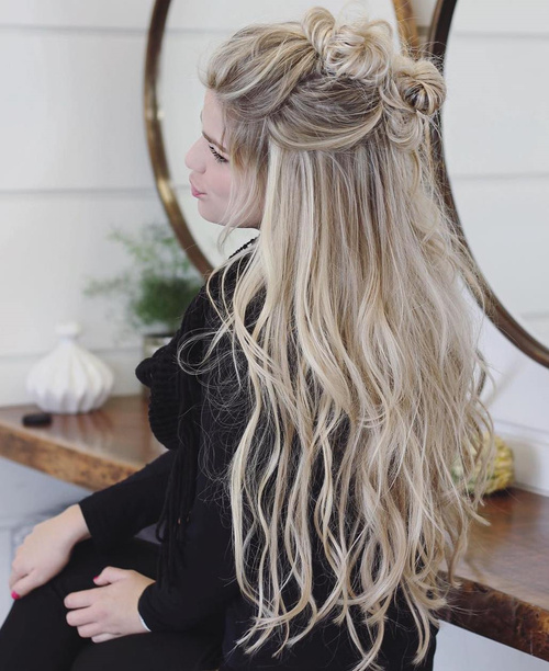 Half Updo With Knotted Braid