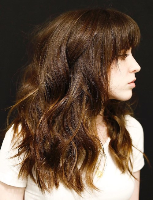 Long Layered Hair With A Fringe And Highlights