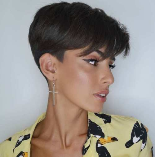 Close-Cropped Pixie With Shaved Sideburns