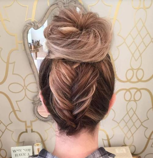 Fishtail Braid Into Bun Updo