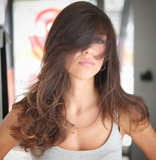 Long Brown Ombre Hairstyle With Bangs