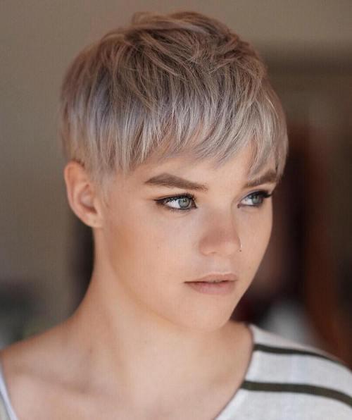 Short Choppy Ash Blonde Hairstyle
