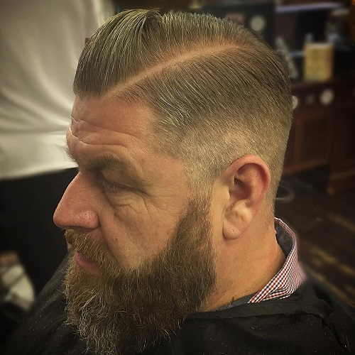 side part taper with full beard