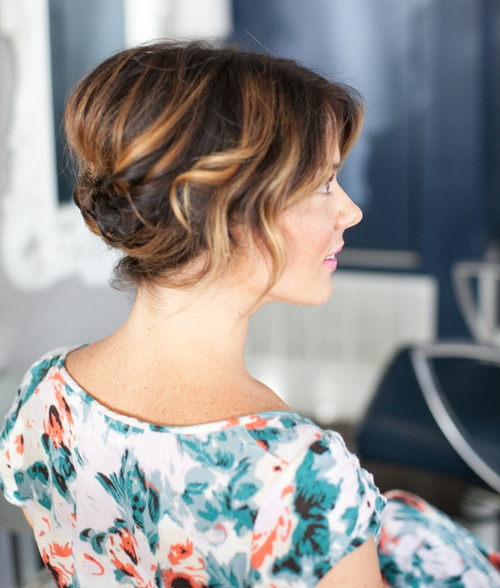 easy voluminous updo for medium hair