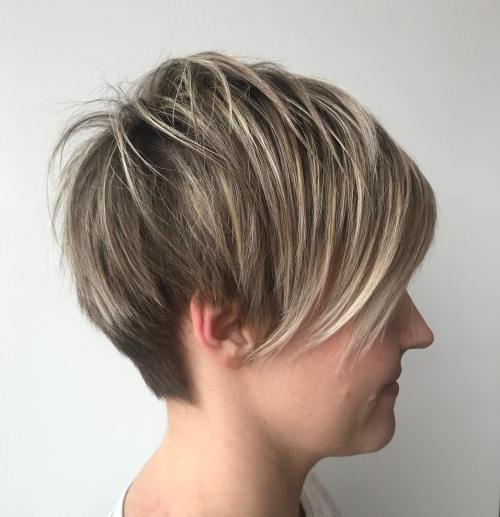 Layered Pixie Undercut With Blonde Highlights