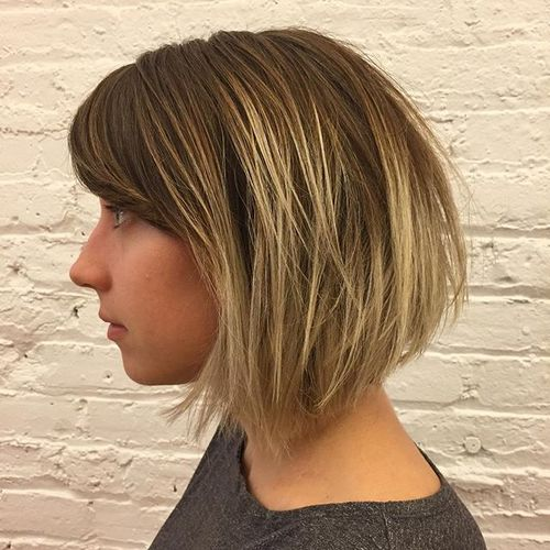 tousled bob with ombre highlights
