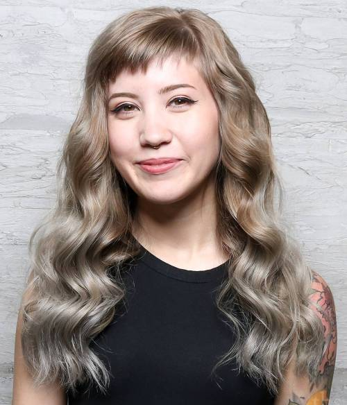 Long Wavy Light Brown To Silver Ombre Hair