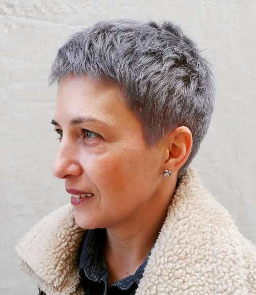 Really Short Gray Haircut For Women