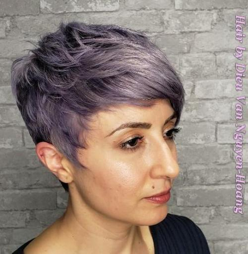 Short Choppy Pastel Purple Hairstyle
